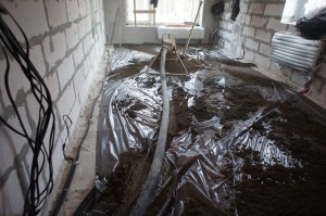 бетонное основание со слоем гидроизоляции